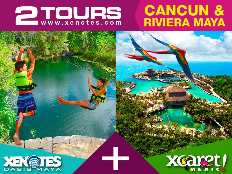 4 different kinds of natural pools cenotes and the most famous ecopark in Cancun and Riviera Maya